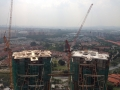 BLOCK 1 ROOF SLAB STRUCTURE IN PROGRESS. BLOCK 2 ROOF SLAB STRUCTURE COMPLETED